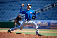 Toronto Blue Jays pitcher Juan Acosta (69) delivers a pitch during a Florida Instructional League game against the Philadelphia Phillies on September 24, 2018 at Spectrum Field in Clearwater, Florida.  (Mike Janes/Four Seam Images)
