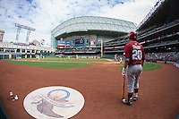 Carson Shaddy (20) of the Arkansas Razorbacks waits for his turn to hit during the game against the Texas Tech Red Raiders in game seven of the Shriners Hospitals for Children College Classic at Minute Maid Park on February 28, 2016 in Houston, Texas.  The Razorbacks defeated the Red Raiders 10-6.  (Brian Westerholt/Four Seam Images)