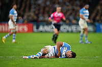 Lucas Gonzalez Amorosino of Argentina grimaces in pain after a late tackled. Rugby World Cup Bronze Final between South Africa and Argentina on October 30, 2015 at The Stadium, Queen Elizabeth Olympic Park in London, England. Photo by: Patrick Khachfe / Onside Images