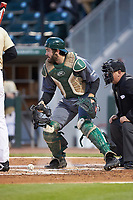 Charlotte 49ers catcher Zack Smith (19) on defense against the Wake Forest Demon Deacons at BB&T BallPark on March 13, 2018 in Charlotte, North Carolina.  The 49ers defeated the Demon Deacons 13-1.  (Brian Westerholt/Four Seam Images)