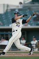 Sean Luellwitz of the Lancaster JetHawks bats during a 2004 season California League game against the Lancaster JetHawks at The Hanger in Lancaster, California. (Larry Goren/Four Seam Images)