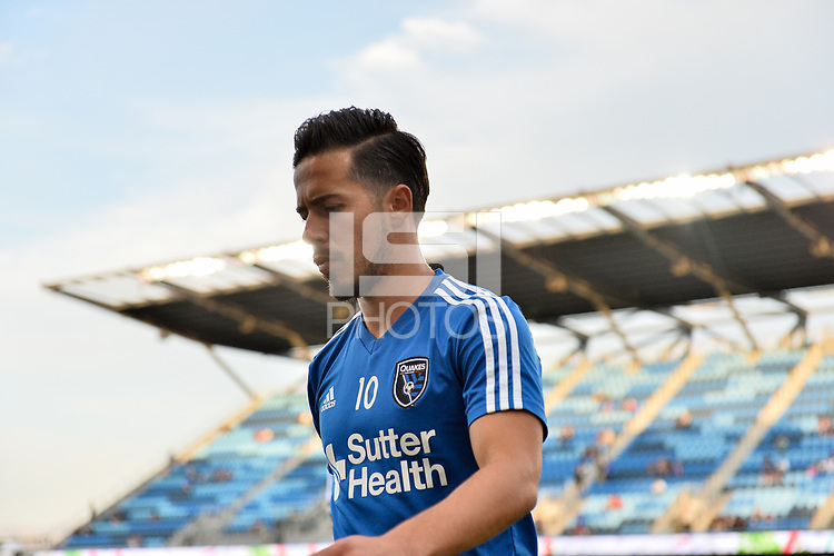 San Jose, CA - Wednesday August 29, 2018: Jahmir Hyka prior to a Major League Soccer (MLS) match between the San Jose Earthquakes and FC Dallas at Avaya Stadium.