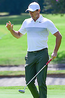 Rory McIlroy (NIR) reacts to sinking his putt on 1 during round 1 of the World Golf Championships, Mexico, Club De Golf Chapultepec, Mexico City, Mexico. 3/2/2017.<br />
