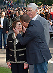 "JEAN-CLAUDE VAN DAMME AND HIS MOTHER.""Muscles from Brussels"" honored with his life-size bronze statue in Anderlecht, Brussels..The 1.74 metre bronze statue weighs one and a half tonnes.. Jean-Claude Van Varenberg thanked his parents who attended the ceremony, for their support when he left Brussels for Los Angeles_Brussels, Belgium_21/10/2012.Photo Credit: ©Alain Rolland/NEWSPIX INTERNATIONAL..**ALL FEES PAYABLE TO: ""NEWSPIX INTERNATIONAL""**..PHOTO CREDIT MANDATORY!!: NEWSPIX INTERNATIONAL..IMMEDIATE CONFIRMATION OF USAGE REQUIRED:.Newspix International, 31 Chinnery Hill, Bishop's Stortford, ENGLAND CM23 3PS.Tel:+441279 324672  ; Fax: +441279656877.Mobile:  0777568 1153.e-mail: info@newspixinternational.co.uk"
