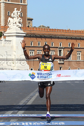 10.04.2016. Rome, Italy. 22nd annual Marathon of Rome City and Run for Fun.  Amos Kipruto winner mens race in Rome Marathon crosses the finish line