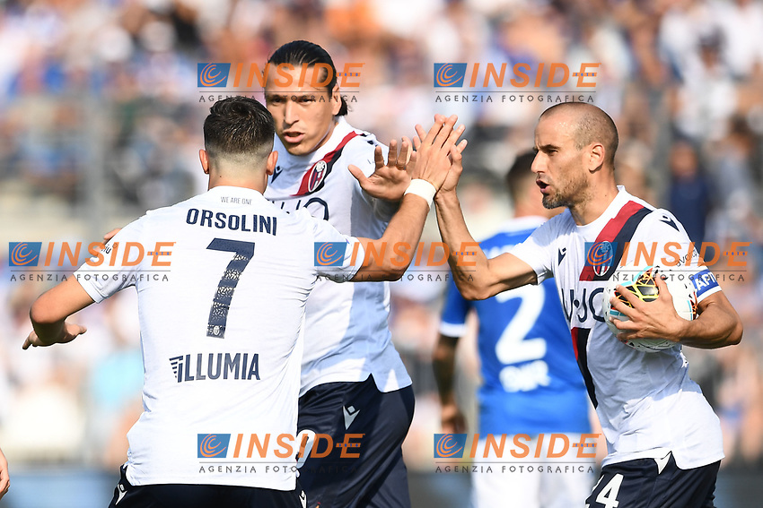 Celebration after a goal of Rodrigo Palacio <br /> Brescia 15/09/2019 Stadio Mario Rigamonti <br /> Football Serie A 2019/2020 <br /> Brescia Calcio - Bologna FC <br /> Photo Image Sport / Insidefoto