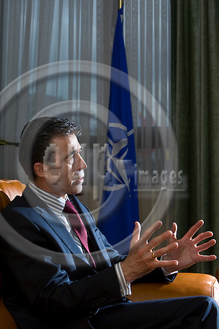 BRUSSELS - BELGIUM - 26 FEBRUARY 2010 -- NATO Secretary General Anders Fogh Rasmussen during a interview in his office. -- PHOTO: Juha ROININEN / EUP-IMAGES