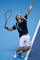 David Ferrer (ESP) (5) against Roger Federer (SUI) (4) in the semi-finals of the Barclays ATP World Tour Finals...@AMN IMAGES, Frey, Advantage Media Network, Level 1, Barry House, 20-22 Worple Road, London, SW19 4DH.Tel - +44 208 947 0100.email - mfrey@advantagemedianet.com.www.amnimages.photoshelter.com.