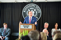 MSU President Mark E. Keenum speaks during the groundbreaking ceremony for the Starkville Oktibbeha School District Partnership School at Mississippi State University. The 128,000-square-foot facility will serve all SOSD sixth and seventh grade students while serving as a demonstration site for student teachers in MSU's College of Education. <br />