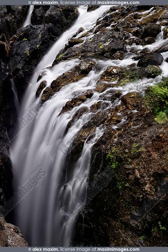 Beautiful waterfall nature scenery at Englishman River Falls Provincial Park. Errington, Vancouver Island, BC, Canada