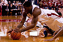 11 January 2012: Caleb Walker #25 of the Nebraska Cornhuskers scrambles for the ball during the first half against the Penn State Nittany Lions at the Devaney Sports Center in Lincoln, Nebraska. Nebraska defeated Penn State 70 to 58.