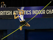 10th February 2019, Arena Birmingham, Birmingham, England; Spar British Athletics Indoor Championships; Luke Cutts competes in the men's pole vault during Day Two of the Spar Indoor Athletics Championships at Birmingham Arena