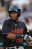 Junior Arias #40 of the Bakersfield Blaze during a game against the Inland Empire 66ers at San Manuel Stadium on August 21, 2014 in San Bernardino, California. Bakersfield defeated Inland Empire, 4-0. (Larry Goren/Four Seam Images)