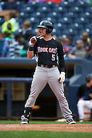 New Britain Rock Cats outfielder Tyler Massey (5) at bat during a game against the Akron RubberDucks on May 21, 2015 at Canal Park in Akron, Ohio.  Akron defeated New Britain 4-2.  (Mike Janes/Four Seam Images)