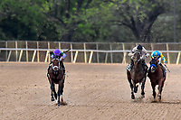 HOT SPRINGS, AR - APRIL 14:Arkansas Derby with #6 Magnum Moon with jockey Luis Saez (left) winning. Oaklawn Park on April 14, 2018 in Hot Springs,Arkansas. (Photo by Ted McClenning/Eclipse Sportswire/Getty Images)