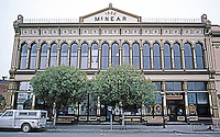 Petaluma CA:  McNear Building Facade, 1886. Italianate Cast-iron Commercial. Made by a San Francisco firm.  Photo '83.