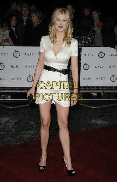 ROSAMUND PIKE.London Critics' Circle Film Awards at BFI Southbank, London, England..February 10th 2011.ALFS full length black dress white wrap belt peep toe shoes.CAP/CAN.©Can Nguyen/Capital Pictures.