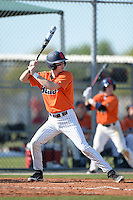Gettysburg Bullets shortstop Cory Karagjozi (15) at bat during the first game of a doubleheader against the Edgewood Eagles at the Lee County Player Development Complex on March 10, 2014 in Fort Myers, Florida.  Gettysburg defeated Edgewood 3-2.  (Mike Janes/Four Seam Images)