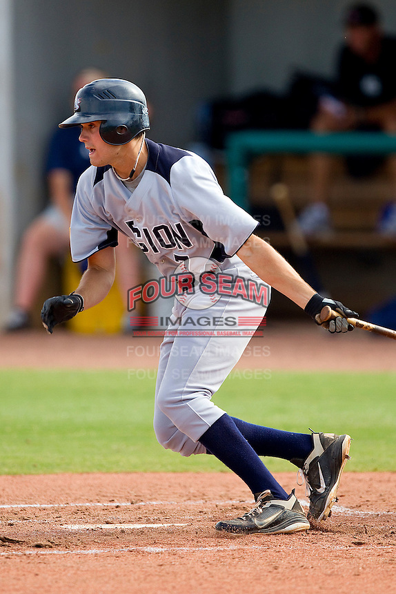 Anthony Kidston #7 of American Legion follows through on his swing against RBI at the 2011 Tournament of Stars at the USA Baseball National Training Center on June 25, 2011 in Cary, North Carolina.  RBI defeated American Legion by the score of 8-7. (Brian Westerholt/Four Seam Images)