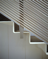 The staircase railing is made from metal decking and the steps themselves are painted metal