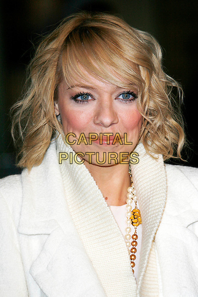 "LIZ McCLARNON .Arrivals - World Premiere of ""Avatar"",  Odeon Leicester Square, London, England, UK, December 10th, 2009..portrait headshot white cream pearl necklace flower fringe .CAP/DAR.©Darwin/Capital Pictures."
