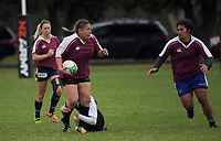 Action from the Manawatu women's club rugby Tri-Series match between Manawa Tu (maroon) and Manawa Toru (navy and white) at Linton Army Camp in Palmerston North, New Zealand on Saturday, 5 May 2018. Photo: Dave Lintott / lintottphoto.co.nz