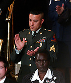 Sergeant Wasim Kahn sits in the first lady's box while United States President George W. Bush delivers his annual State of the Union Address to a Joint Session of the United Stats Congress in the Capitol in Washington, D.C. on January 31, 2006.  <br /> Credit: Ron Sachs - CNP<br /> (RESTRICTION: NO New York or New Jersey Newspapers or newspapers within a 75 mile radius of New York City)