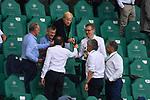 """v.l.<br />Karl-Heinz RUMMENIGGE (Vorstandsvorsitzender, M)<br />Herbert HAINER (Praesident, M),<br />Oliver """" Oli """" KAHN (Vorstandsmitglied, M)<br />Jan-Christian DREESEN â(stellv. Vorstandsvoristzender Bayern Muenchen), stossen auf der Tribuene mit Bier an, <br /><br />Sport: Fussball: 1. Bundesliga: Saison 19/20: 34.Spieltag, <br />VFL WOLFSBURG - FC BAYERN MUENCHEN <br />am 27.06.2020 in der Volkswagen Arena Wolfsburg, <br /><br />Nur fuer journalistische Zwecke! <br />Only for editorial use!<br />Gemaess den Vorgaben der DFL Deutsche Fussball Liga ist es untersagt, in dem Stadion und/oder vom Spiel angefertigte Fotoaufnahmen in Form von Sequenzbildern und/oder videoaehnlichen Fotostrecken zu verwerten bzw. verwerten zu lassen. <br />DFL regulations prohibit any use of photographs as image sequences and/or quasi-video.<br />National and International News Agencies OUT<br />NO RESALE!"""