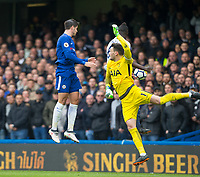 Alvaro Morata of Chelsea scores past a goal Goalkeeper Hugo Lloris of Spursto make it 1 0  during the Premier League match between Chelsea and Tottenham Hotspur at Stamford Bridge, London, England on 1 April 2018. Photo by Andy Rowland.