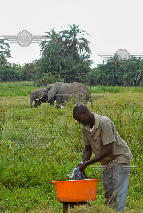 An Amboseli elephant researcher does laundry near the research centre Behind him elephants stand in a swamp.