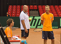 09-09-13,Netherlands, Groningen,  Martini Plaza, Tennis, DavisCup Netherlands-Austria, DavisCup,   LTR: Robin Haase, coach Raymond Knaap and captain Jan Siemerink(NED)<br /> Photo: Henk Koster