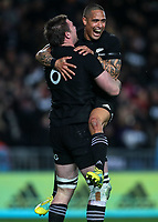 Aaron Smith and Liam Squire celebrate Squire's try during the Bledisloe Cup and Rugby Championship rugby match between the New Zealand All Blacks and Australia Wallabies at Eden Park in Auckland, New Zealand on Saturday, 25 August 2018. Photo: Simon Watts / lintottphoto.co.nz