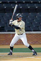 Joe Napolitano (12) of the Wake Forest Demon Deacons at bat against the Marshall Thundering Herd at Wake Forest Baseball Park on February 17, 2014 in Winston-Salem, North Carolina.  The Demon Deacons defeated the Thundering Herd 4-3.  (Brian Westerholt/Four Seam Images)