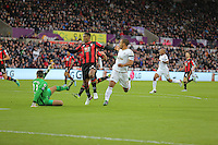 Wayne Routledge of Swansea (R) has his shot stopped by Bournemouth goalkeeper Adam Federici (L) during the Barclays Premier League match between Swansea City and Bournemouth at the Liberty Stadium, Swansea on November 21 2015