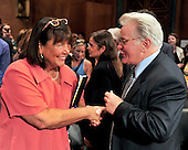 """Actor Martin Sheen, right, shakes hands with Jeanne E. LaFazia, Chief Judge, Rhode Island District Court, left,  following their testimony during a hearing before the United States Senate Committee on the Judiciary Subcommittee on Crime and Terrorism on """"Drug and Veterans Treatment Courts: Seeking Cost-Effective Solutions for Protecting Public Safety and Reducing Recidivism"""" in Washington, D.C. on Tuesday, July 19, 2011..Credit: Ron Sachs / CNP"""