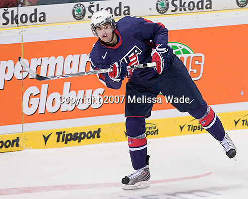 Jamie McBain (USA - 4) - The US U-20s defeated Kazakhstan 5-1 in their opening game of the 2008 World Junior Championship at Tipsport Liberec Arena in Liberec, Czech Republic, on Wednesday, December 26, 2007.