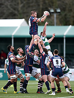 Matt Challinor of Doncaster wins the ball at a lineout. Knights Greene King IPA Championship match, between Ealing Trailfinders and Doncaster Knights on February 9, 2019 at the Trailfinders Sports Ground in London, England. Photo by: Patrick Khachfe / Onside Images