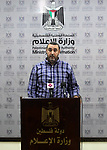 Director General of the Licensing Authority at the Ministry of Transport and Communications Khalil Al-Zayan speaks during a press conference in Gaza City July 28, 2019. Photo by Mahmoud Ajjour