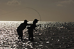 SILHOUETTE OF FLY FISHING IN LOS ROQUES