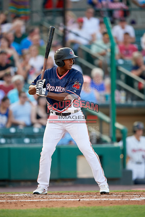 Rochester Red Wings right fielder Edgar Corcino (5) at bat during a game against the Pawtucket Red Sox on July 4, 2018 at Frontier Field in Rochester, New York.  Pawtucket defeated Rochester 6-5.  (Mike Janes/Four Seam Images)