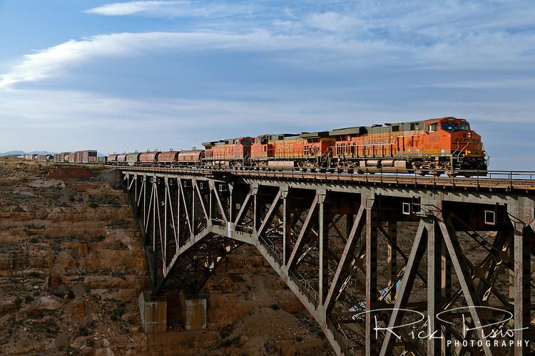 A Burlington Northern Santa Fe freight train passes over the Canyon Diablo Trestle east of Flagstaff, Arizona.