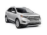 Silver 2016 Ford Edge Sport car SUV crossover vehicle isolated on white background with clipping path Image © MaximImages, License at https://www.maximimages.com