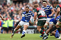 Kahn Fotuali'i of Bath Rugby looks to pass the ball. Gallagher Premiership match, between Leicester Tigers and Bath Rugby on May 18, 2019 at Welford Road in Leicester, England. Photo by: Patrick Khachfe / Onside Images