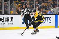 September 26, 2018: Boston Bruins left wing Jake DeBrusk (74) plays through the neutral zone during the NHL pre-season game between the Detroit Red Wings and the Boston Bruins held at TD Garden, in Boston, Mass. Detroit defeats Boston 3-2 in overtime. Eric Canha/CSM