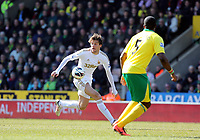 Pictured L-R: Michu of Swansea against Sebastien Bassong of Norwich.  Saturday 06 April 2013<br />
