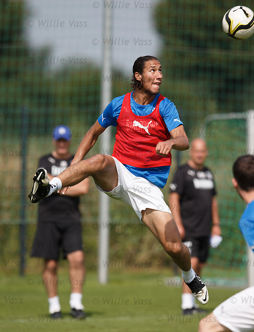 Bilel Mohsni traps a high ball, controls it and bursts the net at training