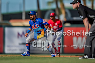 28 February 2019: New York Mets  top prospect infielder Luis Guillorme in action during a Spring Training game against the St. Louis Cardinals at Roger Dean Stadium in Jupiter, Florida. The Mets defeated the Cardinals 3-2 in Grapefruit League play. Mandatory Credit: Ed Wolfstein Photo *** RAW (NEF) Image File Available ***