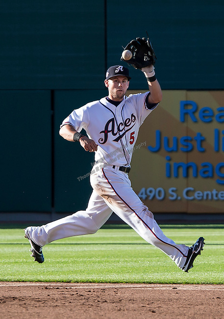 Aces shortstop Chris Owings makes the play on a grounder up the middle during the Triple-A All-Star game played on Wednesday night, July 17, 2013 at Aces Ballpark in Reno, Nevada.