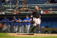 Batavia Muckdogs catcher Jarett Rindfleisch (44) during a game against the Hudson Valley Renegades on August 2, 2016 at Dwyer Stadium in Batavia, New York.  Batavia defeated Hudson Valley 2-1. (Mike Janes/Four Seam Images)