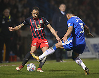Blackburn Rovers' Elliott Bennett is tackled by Gillingham's Bradley Garmston<br /> <br /> Photographer Rachel Holborn/CameraSport<br /> <br /> The EFL Sky Bet League One - Gillingham v Blackburn Rovers - Tuesday 10th April 2018 - Priestfield Stadium - Gillingham<br /> <br /> World Copyright &copy; 2018 CameraSport. All rights reserved. 43 Linden Ave. Countesthorpe. Leicester. England. LE8 5PG - Tel: +44 (0) 116 277 4147 - admin@camerasport.com - www.camerasport.com